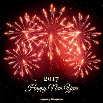 Fondo de fuegos artificiales rojos de año nuevo