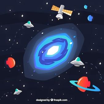 Fondo de galaxia y planetas en diseño plano