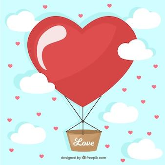 Fondo de globo aerostático con corazón