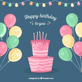 Fondo de globos y tarta de cumpleaños