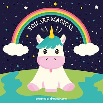 Fondo de gracioso unicornio sentado en el mundo