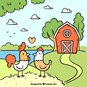 Fondo de granja con gallina y gallo dibujados a mano