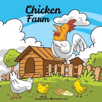 Fondo de granja con gallo y pollitos