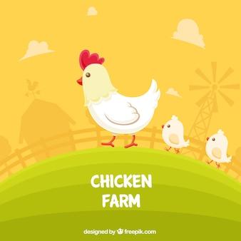 Fondo de granja de gallina y pollitos