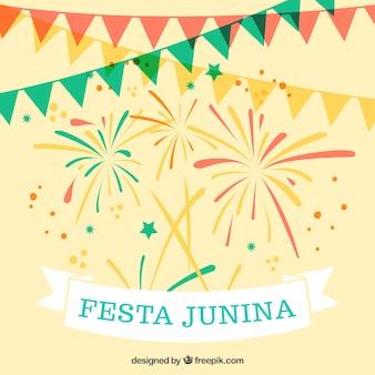 Fondo de guirnaldas con fuegos artificiales de fiesta junina