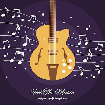 Fondo de guitarra con notas musicales
