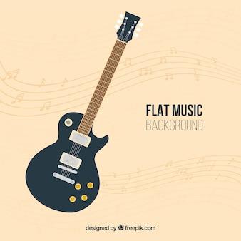 Fondo de guitarra en diseño plano