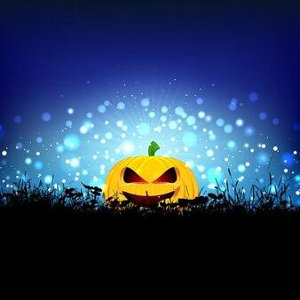 Fondo de halloween con calabaza enclavada en la hierba