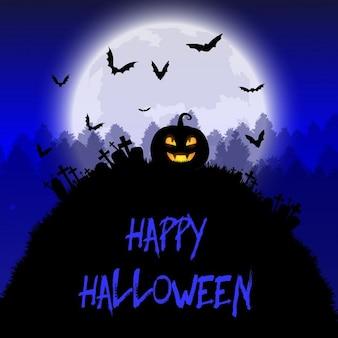 Fondo de halloween con calabaza fantasmagórica y luna