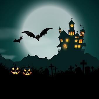 Fondo de halloween con calabazas y casa embrujada