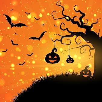 Fondo de halloween con calabazas y murciélagos