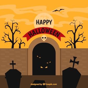 Fondo de halloween con cementerio de terror