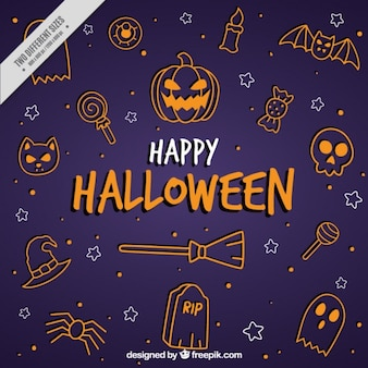 Fondo de halloween con elementos dibujados a mano