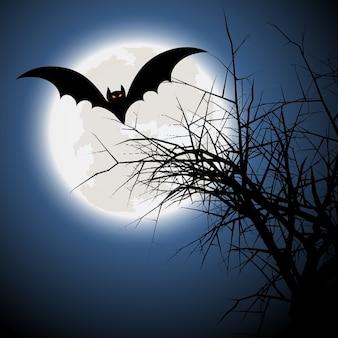 Fondo de halloween con murciélago y árbol fantasmagórico