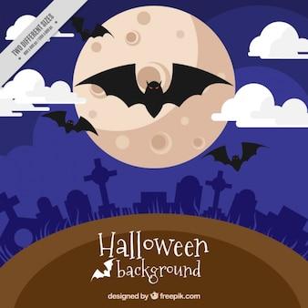 Fondo de halloween con murciélagos y luna llena