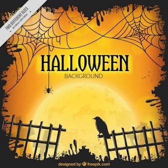 Fondo de halloween con verja y un cuervo