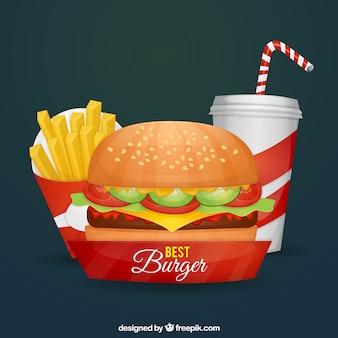 Fondo de hamburguesa, patatas y bebida