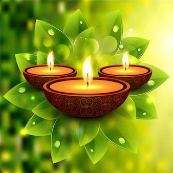 Fondo de hojas desenfocado de diwali
