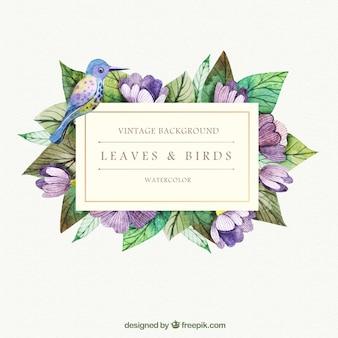 Fondo de hojas pintadas a mano y pájaro