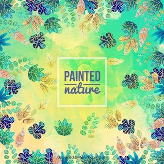 Fondo de hojas pintadas a mano