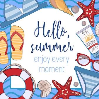 Fondo de hola verano con frase