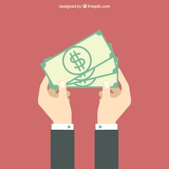 Fondo de hombre con billetes en diseño plano