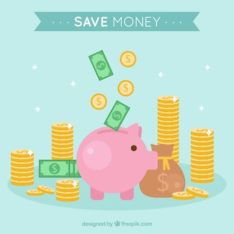 Fondo de hucha de cerdito y ahorros
