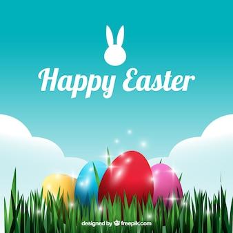 Fondo de huevos de Pascua brillantes