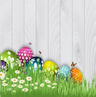 Fondo de huevos de Pascua con mriposas