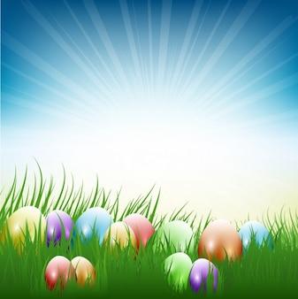 Fondo de huevos de pascua y rayos de sol