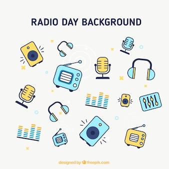 Fondo de iconos del día de la radio