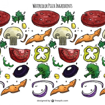 Fondo de ingredientes de acuarela para pizza