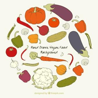 Fondo de ingredientes veganos dibujados a mano