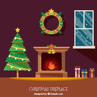 Fondo de interior de casa navideña con chimenea