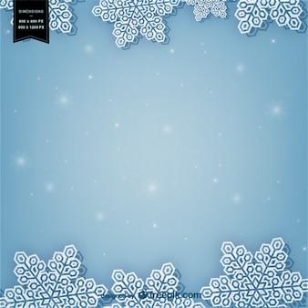 Fondo de invierno con copos de nieve blanca