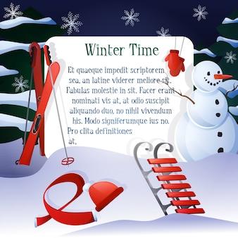 Fondo de invierno con muñeco de nieve y elementos rojos