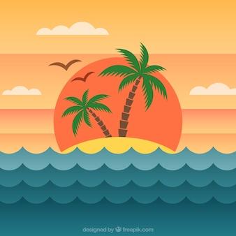 Fondo de isla al atardecer en diseño plano