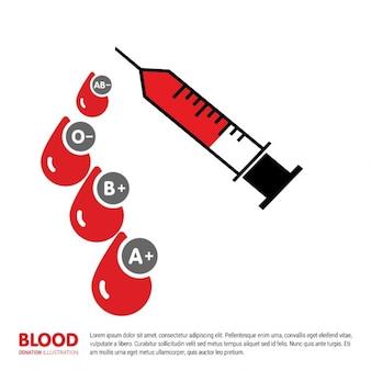 Fondo de jeringa con gotas de sangre