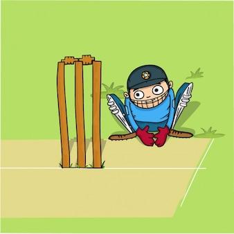 Fondo de jugador de cricket en la postura de un grillo
