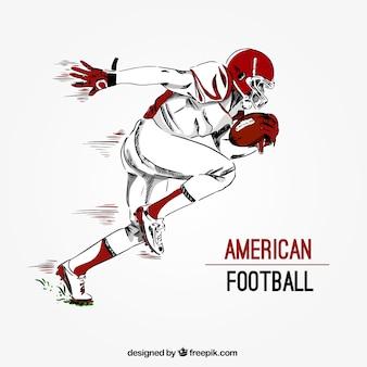 Fondo de jugador de fútbol americano dibujado a mano
