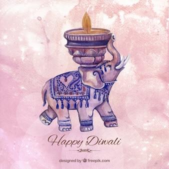 Fondo de la acuarela Diwali con un elefante