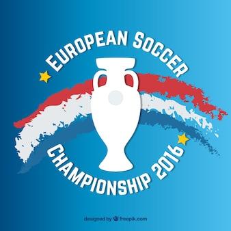 Fondo de la eurocopa 2016 con bandera de francia pintada a mano y trofeo