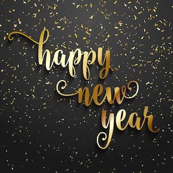 Fondo de la feliz año nuevo con confeti dorado