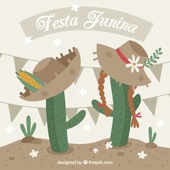 Fondo de la fiesta junina con cactus