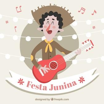 Fondo de la fiesta junina con hombre tocando la guitarra