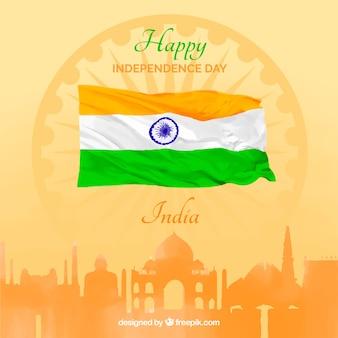Fondo de la independencia de india con ciudad y bandera de acuarela