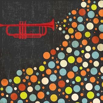 Fondo de la música con trompeta y bolas