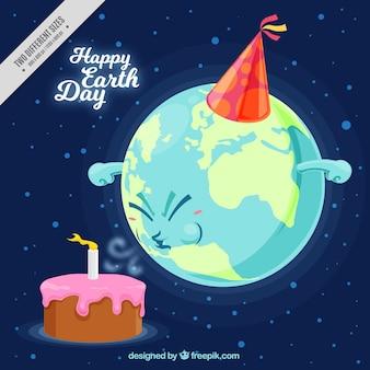 Fondo de la tierra con tarta de cumpleaños