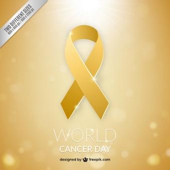 Fondo de lazo dorado del día mundial del cáncer