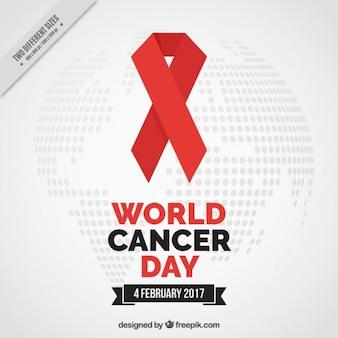 Fondo de lazo rojo del día mundial contra el cáncer